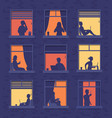 people in windows apartment building look out vector image