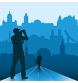Photographer in big city vector | Price: 1 Credit (USD $1)