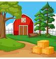 red barn in the farmyard vector image