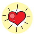 red heart icon colored with a black outline on a vector image vector image