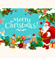 santa and christmas gift frame for new year card vector image vector image
