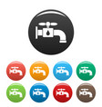 save water tap icons set color vector image