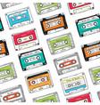 seamless pattern plastic cassette audio tape vector image vector image