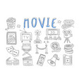 set of doodle icons related to cinema vector image