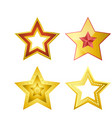 shiny five-pointed stars of several designs vector image vector image