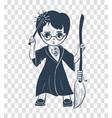silhouette icon of a wizard boy vector image vector image