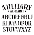Stencil plate serif font military vector image vector image