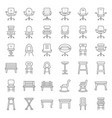 stool chair sofa and bench outline icon set vector image