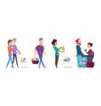 supermarket queue grocery store waiting line vector image