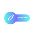 syringe - icon isolated prevention is better vector image