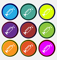 syringe icon sign Nine multi colored round buttons vector image