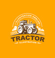 tractor logo on orange background vector image vector image