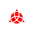 triquetra geometric logo red trinity knot wiccan vector image vector image