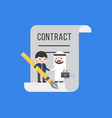 two tiny businessman make a deal contract flat vector image vector image