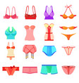 underwear icons set color cartoon style vector image vector image