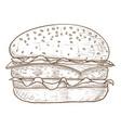 hamburger brown hand drawn sketch vector image
