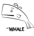 Whale - Outline Fish Isolated on White Background vector image