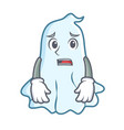 afraid cute ghost character cartoon vector image vector image
