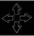 arrow hand drawn sketch on black background vector image vector image