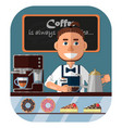 barista at the counter in the coffee shop coffee vector image
