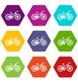 bicycle icon set color hexahedron vector image vector image