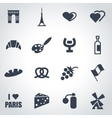 black paris icon set vector image vector image