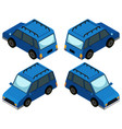 blue van from four different angles vector image