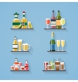 Booze or drinks flat icons on tray at bar vector image vector image