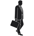 Businessman walking with his briefcase vector image vector image