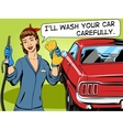 Car wash girl comic book style vector image