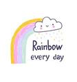 cartoon rainbow and cloud hand draw design vector image vector image