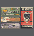 championship on ice hockey player stick and puck vector image vector image