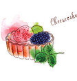 cheescake with fruits vector image vector image