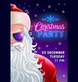 christmas party invitation with cool santa claus vector image