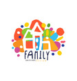 colorful family logo design with city houses vector image vector image