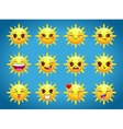 cute cartoon sun character emotions vector image