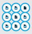 document icons colored set with file exe search vector image vector image