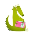 Dragon or dinosaur cartoon reading book vector image vector image