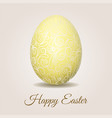 easter card with pale yellow pastel easter egg vector image