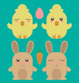 easter chick and rabbit cute animals farm image vector image vector image