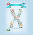 floral letter x with blue ribbon and three doves vector image