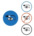 Google glass icon set blue red circle vector image vector image