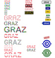 Graz text design set vector image vector image