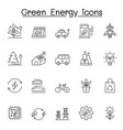 green energy icons set in thin line style vector image