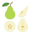 green pear cartoon set cross section cut pear vector image