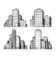 hand drawn urban buildings skyscrapers vector image