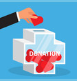 hand throws heart into a donation box vector image vector image