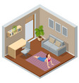 isometric girl watching online classes on laptop vector image
