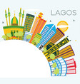 lagos nigeria city skyline with color buildings vector image vector image
