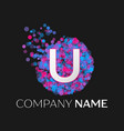 letter u logo with blue purple pink particles vector image vector image